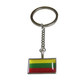 Thin Bordered Lithuania Flag Pendant Keychain