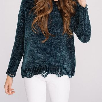 'Bad Romance' Distressed Chenille Sweater