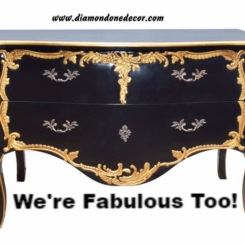 """Black Duboy"" Baroque Fabulous French Reproduction Louis XVI Rococo Victorian Commode"
