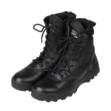 New Sport Army Men Combat Tactical Boots Outdoor Hiking Desert Leather Ankle Boots Mil