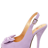 Luichiny Taylor Lilac Suede Bow Peep Toe Slingback Heels
