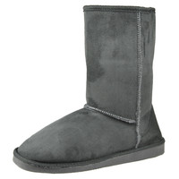 Womens Mid Calf Boots Fur Lined Pull On Winter Casual Pull on Shoes Gray SZ