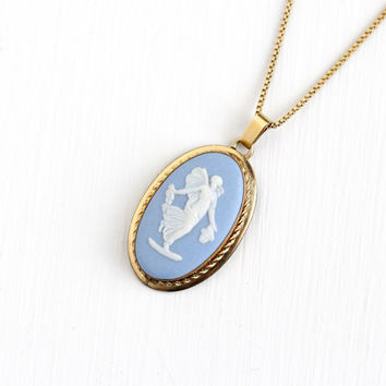 Vintage Wedgwood Gold Filled Goddess Woman Cameo Necklace - 1970s Blue Jasperware English Oval Pendant Charm Jewelry Pin Marked Van Dell