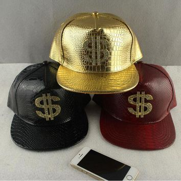 Trendy Winter Jacket Faux Leather Baseball Caps Gold Dollar $ Logo With Bling Hiphop Gorras Snapback Hat Adjustable Fashion Cool Casquette For Unisex AT_92_12