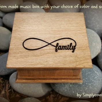 family, music box, wooden music box, custom made music box, gift for mom, mother/ and daughter, mothers day gift, family gift, valentine's