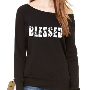 Blessed Slouchy Off Shoulder Oversized Sweatshirt