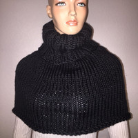 Hand Knitted Winter Cowl in Black/ Black Cowl/ Trending Item/ Gift Item