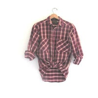 Vintage red Plaid Flannel / Grunge Shirt / Thick cotton button up shirt