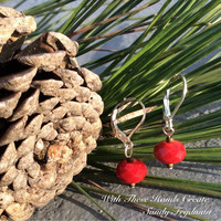 Red Faceted Earrings