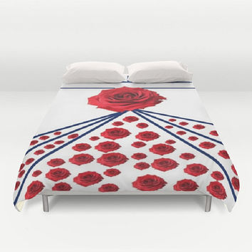 Rose Duvet Cover English Rose Duvet Cover Rose Digital Print Duvet Cover Red Floral Duvet Cover Red White Blue Duvet Cover Floral Bedding