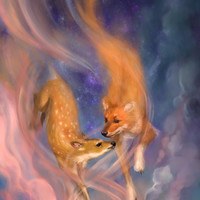 Fantasy Art Fox Deer Digital Painting 8x10 Print Doe Wild Dog Creation Mythology