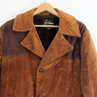 Menswear // Vintage 1970s men's brown corduroy winter barn coat with elbow patches / size 40