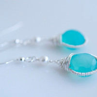 Blue Chalcedony Earrings Wire Wrapped Earrings by Jewels2Luv
