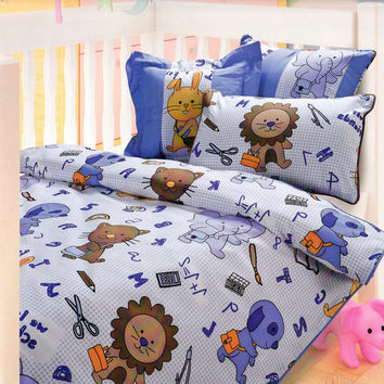 Custom Blue, Yello, Brown, Back to School Animals Printed Kid Bedding Set For Baby, Toddler - Crib Bedding - Crib Size