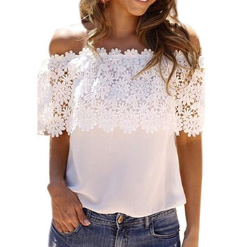 Summer Style Women Sexy Tops Casual Off Shoulder Blouse Chiffon Lace Floral Blouse Solid Shirts