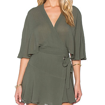 PFEIFFER Wind and Lion Wrap Cape Dress in Olive