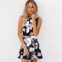 2017 printed sleeveless dresses two-piece outfit