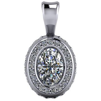 Oval Moissanite Bezel Diamond Halo Pendant