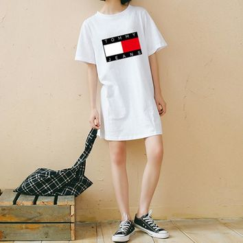 """""""Tommy Jeans"""" Women Loose Casual Multicolor Letter Pattern Print Short Sleeve Middle Long Section T-shirt Dress"""