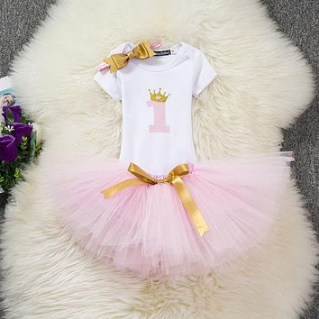 Newborn Baby Girl Clothes Sets Toddler Babes First 1st Birthday Baby Born Cake Outfits Clothing Sets Tutu Baby Wear 12 Months