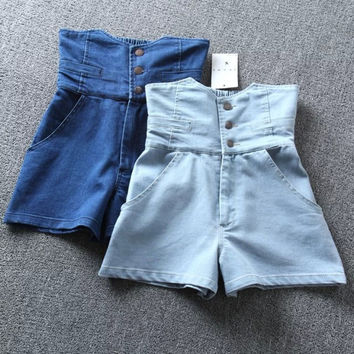 Summer Korean Casual Stylish High Rise Denim Shorts [4919969924]
