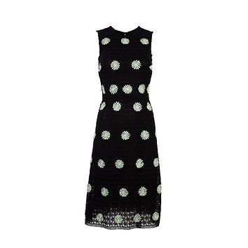 Dolce & Gabbana Womens Black Mid Length Lace Floral Dress