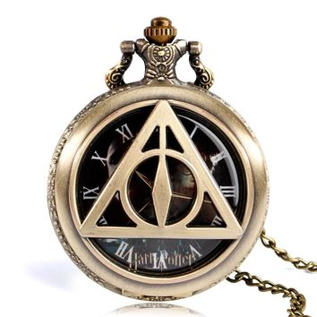 Pocket Watch Copper Fashion Triangle The Deathly Hallows Classic Bronze Half Hunter Vintage Harry Potter Quartz Doctor Who Gift