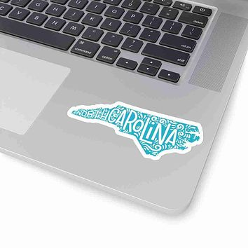 North Carolina State Shape Sticker Decal - Teal