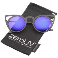 zeroUV - Womens Fashion Round Metal Cut-Out Flash Mirror Lens Cat Eye Sunglasses