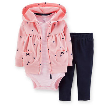 3-Piece Hooded Cardigan Set