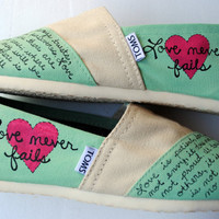 Love Bible Verse Hand Painted TOMS, Mint Green and Cream, 1 Corinthians 13, Custom hand painted shoes