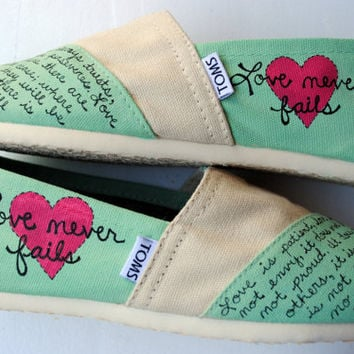 Womens Love Bible Verse Hand Painted TOMS, Mint Green and Cream, 1 Corinthians 13, Custom hand painted shoes