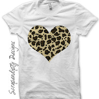 Iron on Leopard Shirt PDF - Girls Heart Iron on Transfer / Brown Leopard Print T-Shirt / Little Girls Clothes / Toddler Apron Kids IT272-C