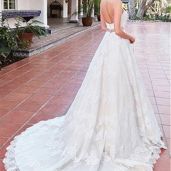 [236.99] Classy Tulle & Satin Sweetheart Neckline A-Line Wedding Dresses With Lace Appliques - dressilyme.com
