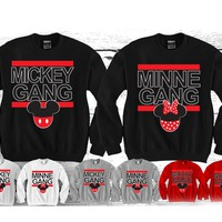 "Minnie gang - Mickey Gang ""Cute Couples Matching Crewnecks"" Funny and Music"