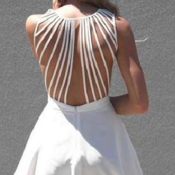 Vix Strappy Back Skater Dress