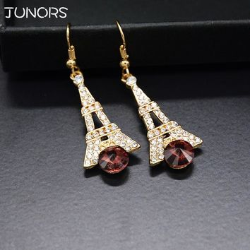 Big Zircon Crystal Eiffel Tower Purple Glass Drop Earrings Gold Color For Women Fashion Pairs Dazzling Jewelry For Girlfriend