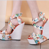 Hot style hot selling sexy silk printed wedge heel comfortable sandals