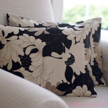Floral Pillow with black beige cream 12 x 16 by BubbleGumDish