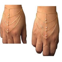Celebrity Multi Chain Tassel Bangle Slave Finger Ring Hand Chain Harness Gold Free Shipping Gift ns89