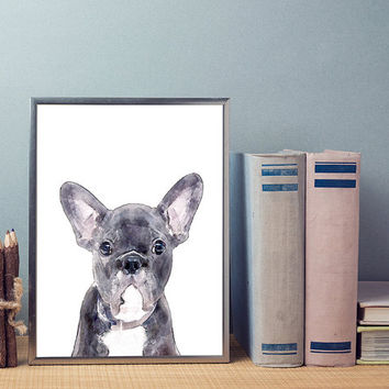 French Bulldog, watercolor art print, printable wall art, modern art print, wall decor, printable art, watercolor wall art, dog print