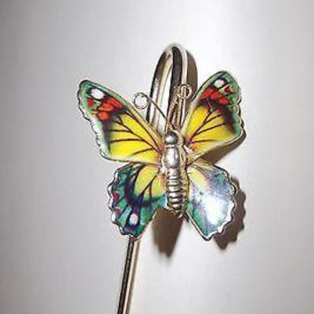 Vintage Enameled Butterfly Brass Bookmark