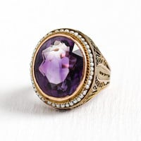 Vintage Amethyst Ring - Art Deco 14k Rosy Yellow Gold 9.11 ct Purple Gemstone & Seed Pearl Halo - 1940s Size 6 3/4 Filigree Fine Jewelry
