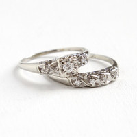 Vintage 14k White Gold Diamond Engagement Ring & Wedding Band Set - 1940s Size 9 1/2 Fine Bridal Jewelry