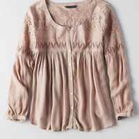 AEO LACE BUTTON DOWN