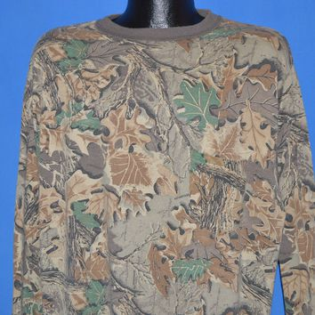80s Brown Camouflage Long Sleeve t-shirt XXL