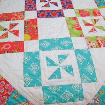 TRADEWINDS PINWHEEL Lap Quilt, Throw Quilt, Scrappy Quilt, Ready to Ship, One of a Kind, Sofa Quilt, Handmade Quilt