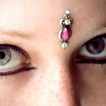 Pink Sapphire Bindi, magic fairy, wicca, tribal fusion, goddess, third eye, skin gem, bellydance, bollywood, fantasy, fae, pagan, whimsical