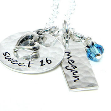 Personalized Necklace - Sweet 16 - Hand Stamped Jewelry