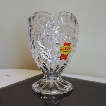 Vintage CRYSTAL Heart Vase- Anna Hutte BLEIKRISTALL 24% Lead Crystal- Made in Germany